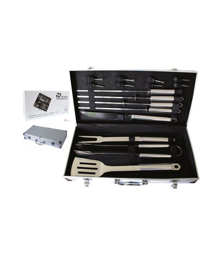 VALISE METAL BARBECUE 16 PIECES